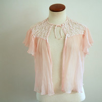 pink lingerie top - 60s vintage lace pleated cropped bedjacket coverup - sheer blouse - xs / small