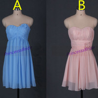 2015 short chiffon bridesmaid dresses with flowers,cheap bridesmaid gowns under 100,simple cute women dress for wedding party.