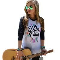 "Color Block ""Wild Child"" Letter Print Long Sleeve T-Shirt"