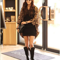 Brand New Sexy Fashion Ladies Long Sleeve Leopard Print Batwing Blouse For Women Chiffon Top Loose Shirts G0216 One Size (Color: Leopard) = 1945806596