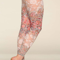 Pink Floral Lace Pretty Leggings. Japanese Cherry Blossom Print. Spring Summer