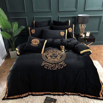 Black Bedding Set 4 Pieces Duvet Cover With Pillowcase
