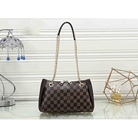 Louis Vuitton LV Popular Women Metal Chain Leather Crossbody Satchel Shoulder Bag Handbag Coffee Tartan