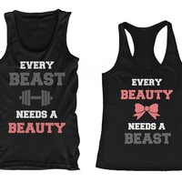 Beauty and Beast Need Each Other Matching Tank Tops for Couples