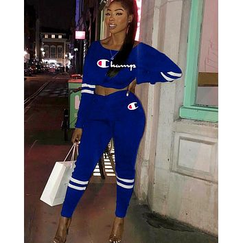 Champion tide brand female solid color sports suit two-piece