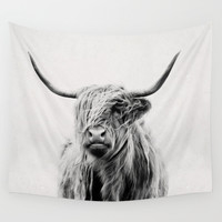 portrait of a highland cow Wall Tapestry by Dorit Fuhg