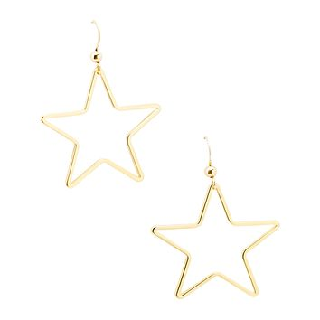 Handmade Gold Single Star Earrings