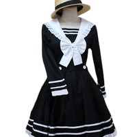 TOMSUIT Cute Black and White V-neck Sweet Lolita Dress with Straw Hat