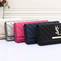 """Yves Saint Laurent YSL"" Women Casual Fashion V Line Long Section Purse Three Fold Wallet Handbag"