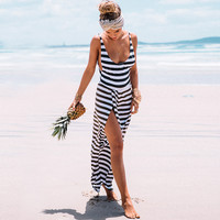 Striped Sleeveless Backless Slit Dovetail Maxi Dress