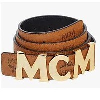 MCM Fashionable Women Smooth Buckle Leather Belt