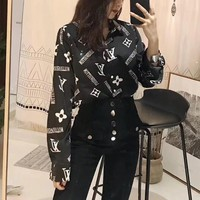 louis vuitton women all match fashion letter logo print long sleeve cardigan lapel shirt tops