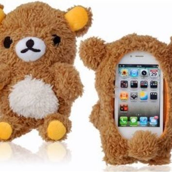 Authentic iPlush Plush Toy Cell Phone Case for iPhone 5 5S 5C (Brown Bear)