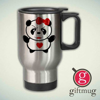 Cute Panda - WOMEN 14oz Stainless Steel Travel Mug