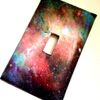 Single Light Switch Plate Cover--Galaxy Space, galaxy decor, galaxy decoration, space decorations, nebula, stars