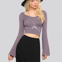Penny Bell Sleeve Crop Top - Mauve - Tops - Clothes   GYPSY WARRIOR