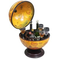 Waypoint Geographic Decorative Drink Wine Holder Wooden Table Stand Salerno Bar Globe