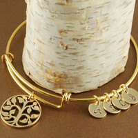 Gold Tree of Life Bange Bracelet with Initials - Alex and Ani Inspired