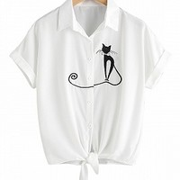 White Cat Embroidery Tie Front Short Sleeve Shirt - Choies.com