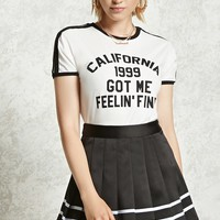 Satin Pleated Mini Skirt