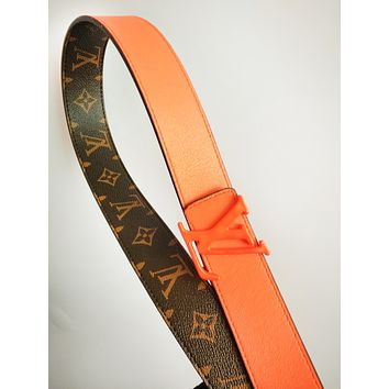 LV hot selling fashionable men's and women's printed two-sided patchwork belt LV print+Orange