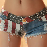 American Flag Print Frayed Denim Shorts