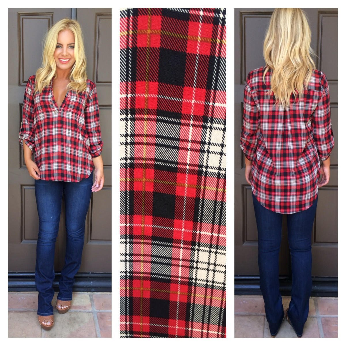 Image of Stark Raving Plaid Blouse Top - RED