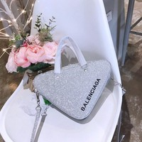 BALENCIAGA Triangle Duffle XS glittered leather tote