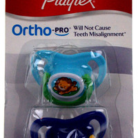 4 Playtex OrthoPro Silicone Pacifiers 6m+ Blue Set of 2 Lion Moon Stars BPA Free