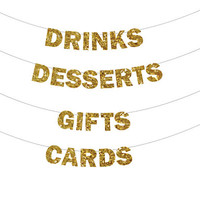 Glitter Banner - Holiday Decoration, Photo Prop, Drinks, Desserts, Gifts, Cards