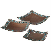 3 Decorative Trays - Southwestern Style Copper And Turquoise