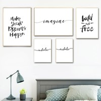 Inhale Exhale Imagine Wild And Free Quotes Nordic Poster And Prints Wall Art Canvas Painting Wall Pictures For Living Room Decor