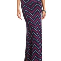 Chevron Print Double Slit Maxi Skirt by Charlotte Russe - Navy Combo