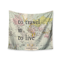 "Catherine Holcombe ""To Travel Is To Live"" Color Map Wall Tapestry"