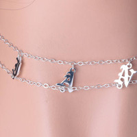 Old English Necklace, Custom Name Necklace, Double Chain, Personalized Choker with Letters, 925 Sterling Silver Jewelry