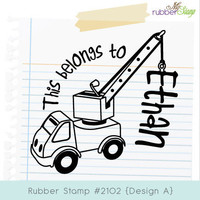 Children Rubber Stamp - Crane. Personalized This belongs to, From the library of, Hello my name is, Teacher says, Please sign & return. 2102