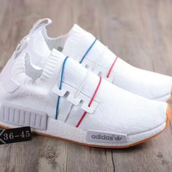 Adidas  NMD PK Blue white  red fashion sports shoes