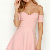 Celebrate Good Times Off-the-Shoulder Blush Pink Dress