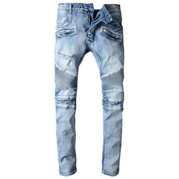 New Men's Classic Jeans Straight Full Length Casual Blue Ripped Jeans Fashion Biker Jeans Design Denim Stretch Skinny Jeans Men