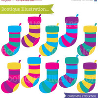 75% OFF Christmas Stockings Clipart Set. 10 Christmas Stockings Clipart Digital Vectors in Bright Colours. Commercial Use* Jpeg, Png, Eps Di