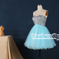 Light blue short beading top homecoming dress,2015 short prom dresses,mini dress,short party dress gowns,cocktail dress,corset sweet16 dress