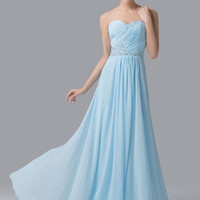 Grace Karin Strapless Pale Turquoise Chiffon Long Prom Dress Bridesmaid Formal DressBall Gown Evening Prom Party Dress CL6230