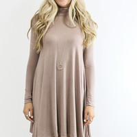 Dusk To Dawn Taupe Turtleneck Long Sleeve Swing Dress