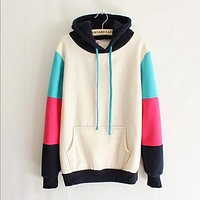 Fashion solid color hooded sweater
