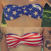 Strappy Bikini Bandeau - Stars and Stripes - Fourth of July - Red White and Blue