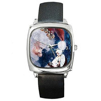 Christmas Santa Claus and Angel / Fairy on a Silver Square Watch with Leather...