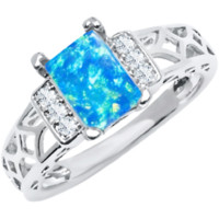 18K White Gold Plated and Aqua Multi Cubic Zirconia, Baguette-cut Ring (size 10)