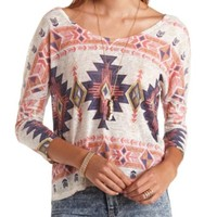 BOXY AZTEC PRINT SWEATER KNIT TOP
