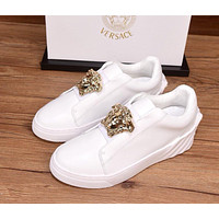 2021 VERSACE Men's and women Leather HIGH Top Sneakers Shoes