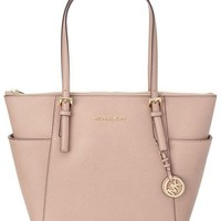 MICHAEL Michael Kors Jet Set Top-Zip Leather Handbag Tote Pink I